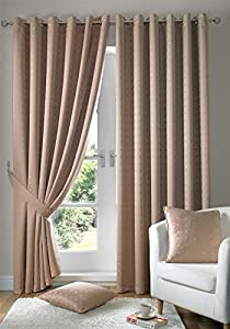 """Jacquard Check Latte Beige 90x108"""" 229x274cm Lined Ring Top Eyelet Curtains Drapes by Curtains"""