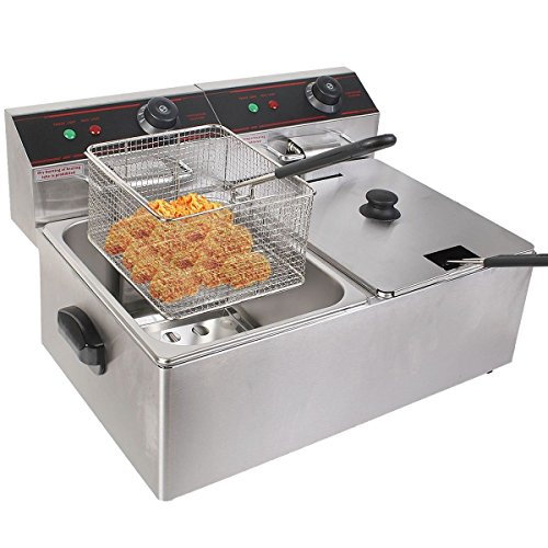 MasterPanel - 5000W Electric Countertop Deep Fryer Dual Tank Commercial Restaurant Steel #TP3378 (2 Compartment Deep Fryer compare prices)
