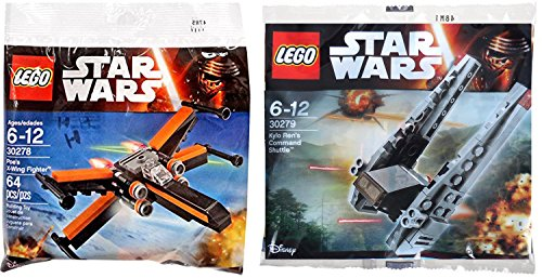 Lego-Star-Wars-Kylo-Rens-Command-Shuttle-Poes-X-Wing-Fighter-Starship-set-Polybag-30279-30278-edition-Building-Set