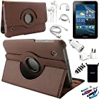 AceNear Accessory Bundle For ASUS Transformer Pad TF300 10.1-Inch Tablet - New 360 Degress Rotating Stand Leather Folio Case Cover , Headset Dust Plug Capacitive Stylus, Screen Protector, USB Cable, Charger, Earphone, bag, Car Charger Adapter - brown