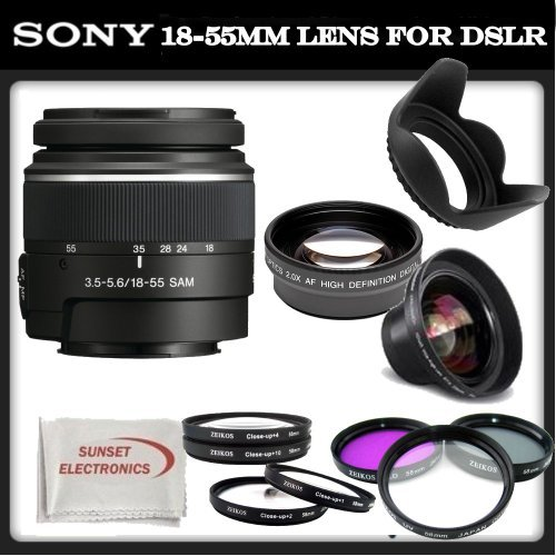Sony SAL-1855 18-55mm f/3.5-5.6 DT AF Zoom Lens + SSE Accessory Kit: Includes – 0.45x Wide Angle Macro Lens, 2x Telephoto HD Lens, 3 Piece Professional Filter Set (UV, CPL, FLD), 4 Piece Macro Close-Up Kit (Diopters +1,+2,+4,+10), Tulip Lens Hood & SSE Microfiber Cleaning Cloth