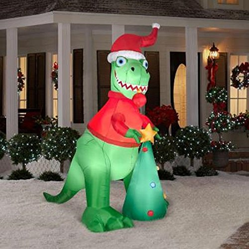 Christmas Inflatable 8 1/2 Ft Tall T-Rex Airblown Yard Prop front-811430