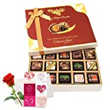 Valentine Chocholik's Belgium Chocolates - Elegant Treat Of Pralines Chocolates With Love Card And Rose