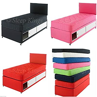 2ft6 & 3ft Single Kids Beds - Coloured Divan Beds with Mattress & Headboard - Sleepkings Childrens Bed, Various Colours Available