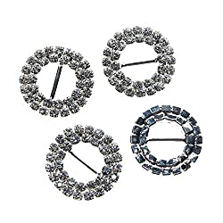 Imported 10pcs Round Rhinestone Ribbon Buckles Sliders Silver 10mm
