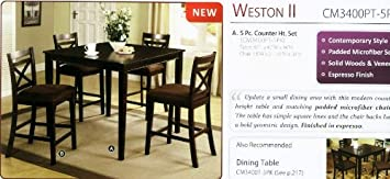Weston 5-Piece Espresso Finish Counter Height Dining Set