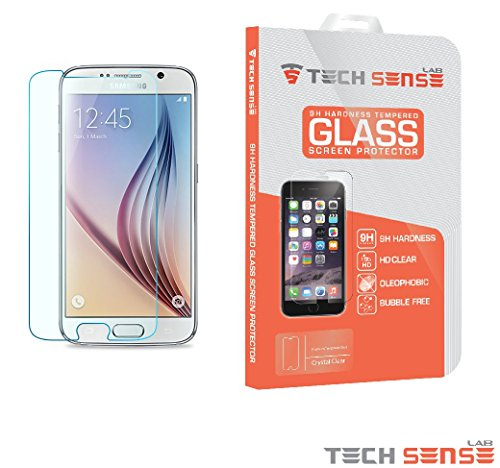 Samsung Galaxy S6 Premium Tempered Glass Screen Protector [9H] by Tech Sense Lab - Full HD, Shatterproof, Anti Scratch Screen Guard For Samsung Galaxy S6