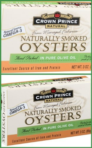 Crown Prince Smoked Oysters In Pure Olive Oil -- 3 Oz Each / Pack Of 2