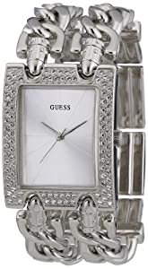 GUESS Women's W95088L1 Rectangle Stainless-Steel Case And Link Bracelet With Double Row Of Crystals Watch