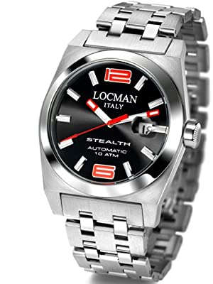 Locman Mens Stealth Automatic Stainless Steel Watch 205BBK