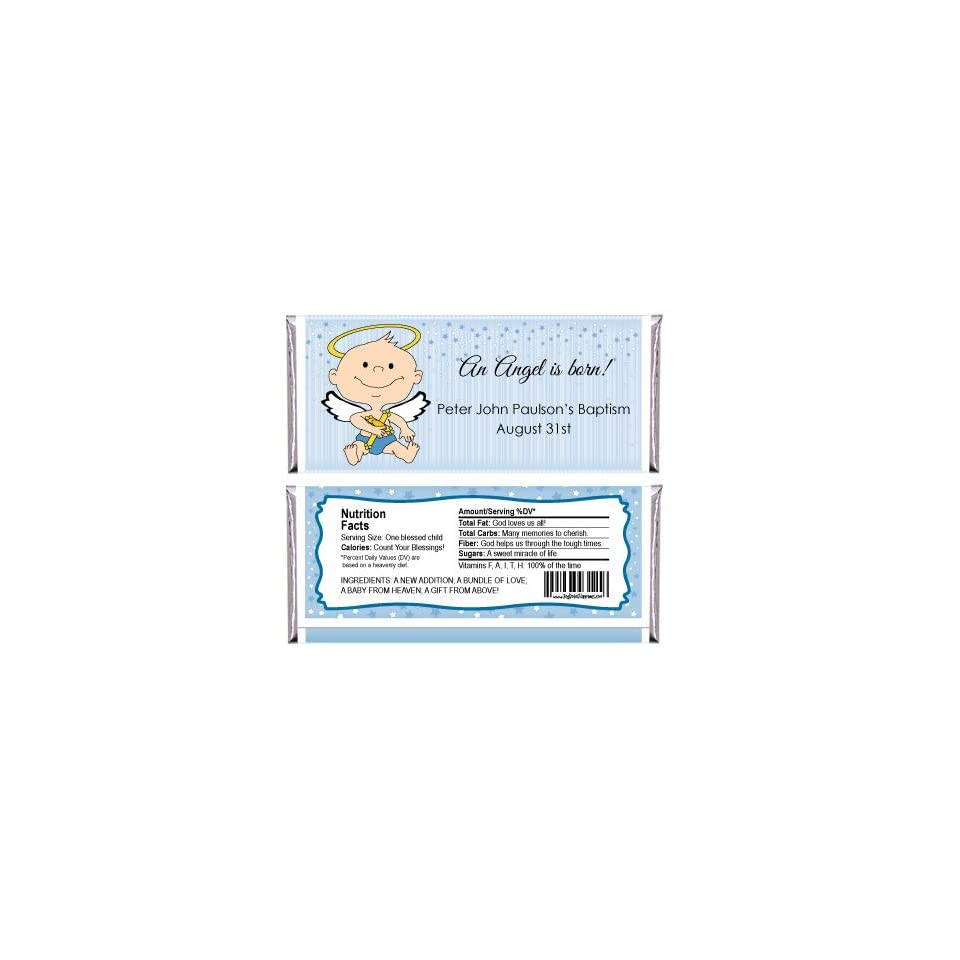 Angel Baby Boy   Personalized Candy Bar Wrapper Baptism Favors