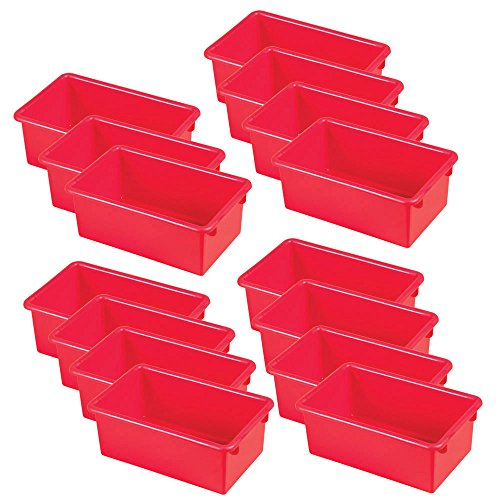 ECR4Kids Stack and Store Tub with No Lid, Red, 15-Pack