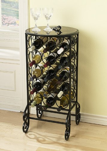 SEI Glass Top Wine Table