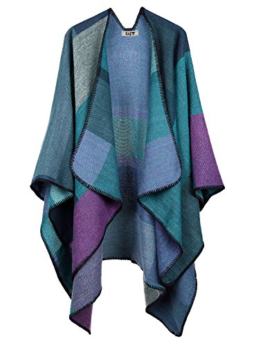 DJT Women's Plaid Pattern Wrap Shawl Poncho Cape One Size Purple