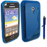 S-Line Gel Skin Cover Case And Capacitive Universal Stylus Pen And LCD Screen Guard For Samsung Galaxy Ace Plus S7500 / Blue