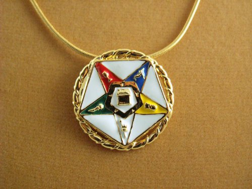 EASTERN STAR Masonic Ladies pendant 18k gold overlay