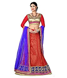 Manvaa Women Net Lehenga Choli(Red_ASNB2117red_Free Size)