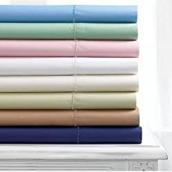 Martha Stewart Collection Simple Care 280 Thread Count Sheet Set, Full Alpine Blue
