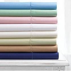 Martha Stewart Collection Simple Care 280 Thread Count Sheet Set, Full Alpine Blue