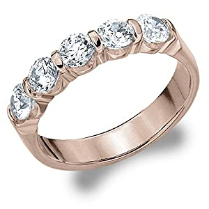 14K Rose Gold Diamond Bar Set Wedding Band (1.0 cttw, F-G Color, VS1-VS2 Clarity) Size 4
