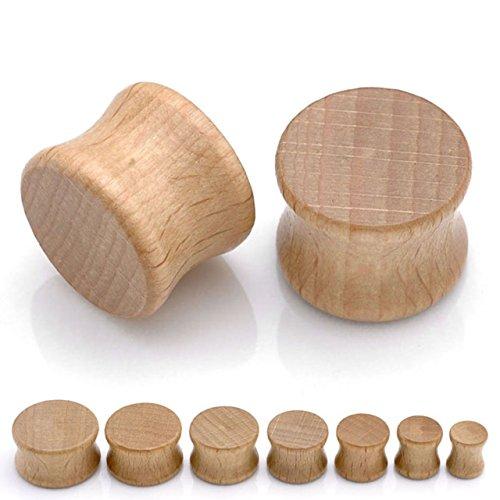 PiercingJ 14pcs Organic Wood Double Flared Saddle Plugs Ear Stretching Kit 0G - 3/4