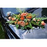 """Autoschmuck Autodeko Hochzeit 10 Rosen Dekor Verschieden Farben Komplett Rattan (Rosa, Blumenstrauss - orange)von """"APM"""""""