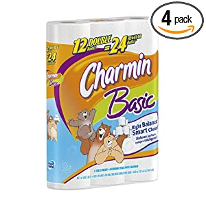 Charmin Basic Toilet Double Rolls, 12-Count (Pack of 4)