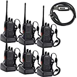 BaoFeng BF-888S Two Way Radio with Built in LED FlashLight (Pack of 6) + USB Programming Cable (1PC)