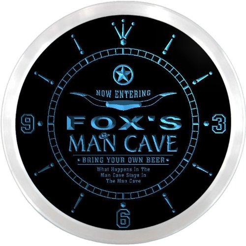 Ncpb1186-B Fox'S Man Cave Cowboys Beer Bar Pub Led Neon Sign Wall Clock