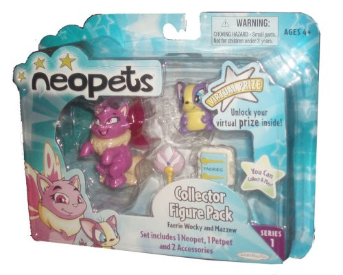 Buy Low Price Jakks Pacific Neopets Collector Figure Pack series 1 : Faerie Wocky and Mazzew (B001CCQH16)