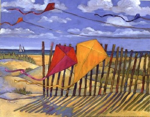 Beach Kites Yellow - mini Poster by Paul Brent (14.00 x 11.00)