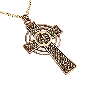 Small Peace Bronze Celtic Cross on Rolo Chain