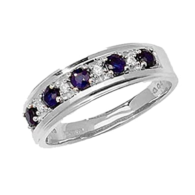 9ct White Gold Sapphire & 4pt Diamond Eternity Ring *RD275WS
