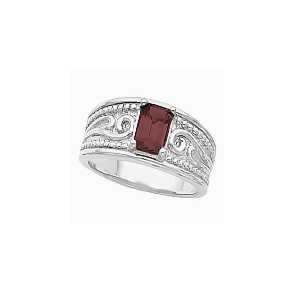 14K White Gold Smoky Quartz Etruscan Style Ring Jewelry