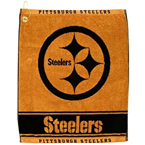 """NFL Pittsburgh Steelers 16"""" x 19"""" Gold Woven Jacquard Golf Towel"""