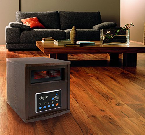 B00RM7KE6O Clevr Portable Electric 1500w Infrared Heater Quartz Wood 1200 SQFT Fireplace