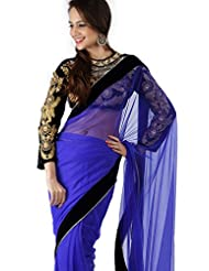 Moiaa Heavy Work Blouse Bright Blue Net Saree With Velvette Lace
