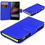 Sony Xperia L C2104 C2105 New 6 Colour Leather Flip Wallet Book Phone Case Cover (Blue Colour)