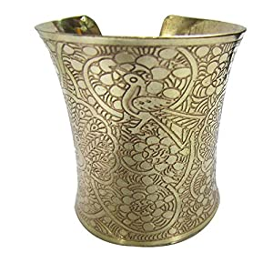 Gold Tone Wide Engraved Peacock Design Adjustable Cuff Bracelet Fashion Jewelry