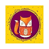 Chumbak Circle Fox Poster (Yellow)