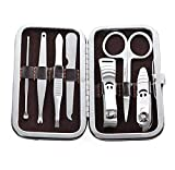 Stainless Steel Nail Care Tools Kit-7-Pack, Brown Case - (Premium Quality)