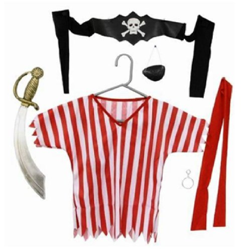 NEW 6 PC CHILDRENS DELUXE PIRATE KIT OUTFIT AGES 3-6