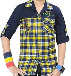 Kidzee 100% Cotton Yellow Color Designer Checks Shirt