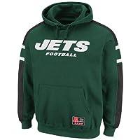 NFL Mens York Jets Passing Game II Dark Green/Black/White Long Sleeve Hooded Fleece Pullover by NFL