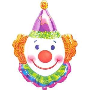 "Smiling Clown Face Purple Orange 33"" Mylar Balloon"