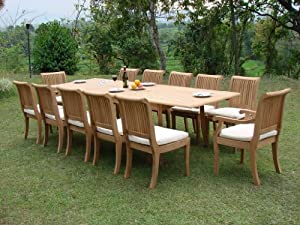 """Giva 13 Pc Luxurious Grade-A Teak Dining Set - 117"""" Double Extension Rectangle Table 12 Chairs (10 Armless and 2 Arm / Captain) from TeakStation"""