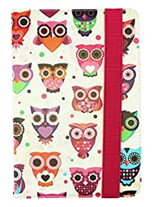 Emartbuy® Universal Range Multi Owls Multi Angle Executive Folio Wallet Case Cover For Celkon 4G Tab-7 7 Inch Tablet