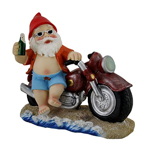 Gnome Away From Home Beach Cruiser Garden Gnome Statue