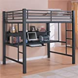 Loft Bed with Workstation for Computer and in Black Finish by Coaster Furni ....