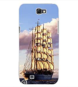 ColourCraft Beautiful Ship Design Back Case Cover for SAMSUNG GALAXY NOTE 2 N7100